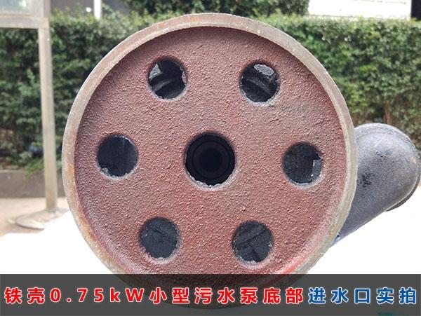 WQD8-12-0.75铁壳小型污水泵(750W普通家用污水泵)底部进水口实拍