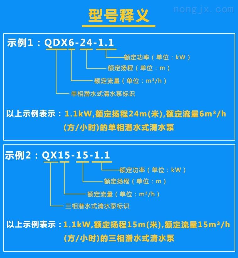 清水泵QDX6-24-1.1、QX15-15-1.1型号含义